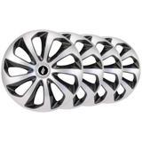 Jogo calota esportiva aro 13 Velox Silver/Black Ford GM VW Fiat Renault Toyota Nissan Hyundai Todos - Elitte