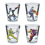 Jogo com 4 copos para drink The Enemies Coloridos - Comics