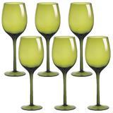Jogo com 6 Taças para Vinho 460ml Vidro Verde Cassandra - Gs