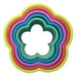 Jogo cortador flor 5 peças coloridas biscoitos pastas e massas prana