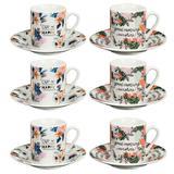Jogo De 12 Pecas Para Cafe Coffe Time Em Porcelana 90Ml - 24082 - Dynasty