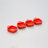 Jogo de 4 Petisqueiras Quadradas Vermelha - Bon gourmet