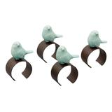 Jogo de 4 Porta Guardanapos Bird Azul - Lyor classic