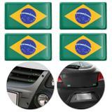 Jogo de Adesivo Resinado Poliéster Bandeira do Brasil 4,5cm Aplicação em Verso Autocolante - Emblemax