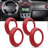 Jogo de Apliques Difusor de Ar Fiesta Hatch Sedan 07 a 12 Ecosport 08 a 12 Vermelho 4 Peças - Nk brasil