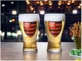 Jogo de Copos de Vidro para Cerveja 470ml 2 Peças - Globimport Flamengo Shape Logo