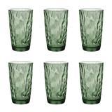 Jogo de copos em vidro long drink Bormioli Diamond 470ml verde