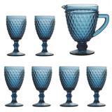 Jogo de Jarra e 6 Taças Diamond Azul Escuro - Bela home