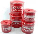 Jogo de latas alumínio polido cor vermelho com escrito - Januário