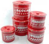 Jogo de latas alumínio polido cor vermelho com escrito - Jr