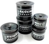 Jogo de latas alumínio polido craqueado preto - Januário