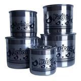 Jogo De Latas Mantimentos Litografada Em Aluminio Galinha - Panelasbrasil