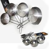 Jogo de Medidores 9 Peças para Cozinha Restaurante Medidor Xícara Colher Aço Inox Kehome - Elegante lar