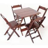 Jogo de Mesa 70 x 70 cm com 4 Cadeiras Dobráveis - Madeira - Madesil