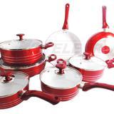 Jogo De Panela Cerâmica Antiaderente Vermelha 7 peças - Idea