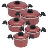 Jogo de Panelas de Alumínio com 5 Peças - Vermelho (Luxo) - Koup