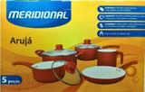 Jogo de Panelas Meridional Aruja 5pcs Vermelho Aluminio Revest Ceramico