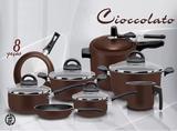 Jogo De Panelas Teflon 8pçs Com Panela De Pressão Cioccolato - Marpal