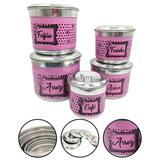 Jogo de Porta Mantimento Latas Alumínio Nomes 5 Peças Rosa - Alumínio extra forte