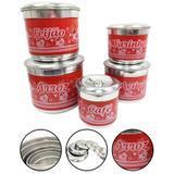 Jogo de Porta Mantimentos Latas Alumínio Com Nome Vermelho - Alumínio extra forte