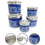 Jogo de Porta Mantimentos Latas Alumínio Nomes 5 Peças Azul - Alumínio extra forte
