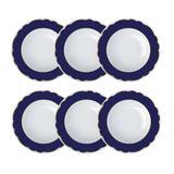 Jogo De Pratos Fundos Branco E Azul Royal Blue Germer