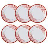 Jogo De Pratos Rasos 6 Peças Carmim 28x2.5Cm Branco E Vermelho Germer