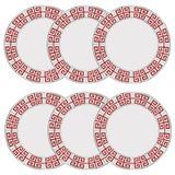 Jogo De Pratos Rasos Germer Atenas Vermelho 6 Pçs Porcelana Branco