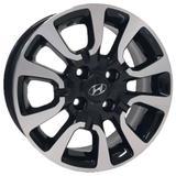 Jogo de Rodas Hyundai HB20x Aro 14 x 6,0 4x100 ET36 S06 Preto Diamantado - Kr wheels