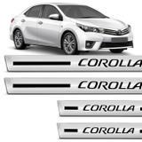 Jogo de Soleira Resinada Toyota Corolla 2014 a 2018 4 Peças com Grafia Excelente Fixação - Resitank