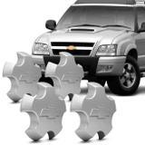 Jogo de Sub Calota Aro 15 Chevrolet S10 Tornado Blazer Executive 09 a 12 Centro Roda Prata 4 Peças - Emblemax