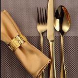 Jogo de talheres dourado 3 peças / Folheado a ouro - Vns
