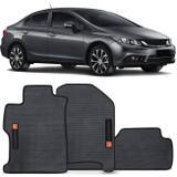 Jogo de Tapete Borracha PVC Honda Civic 2012 a 2014 Preto Bordado Carpete Base Antiderrapante - Flash