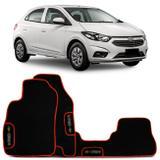 Jogo de Tapetes Borracha PVC Chevrolet Onix 2013 a 2019 Preto Borda Laranja Emblema Grafia Bordado - Top gear