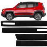Jogo Friso Lateral Jeep Renegade 2015 a 2018 Preto Modelo Original 4 Portas Ótimo Acabamento - Sanfil