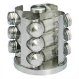 Jogo Porta Condimentos de Vidro com Base Giratória para 12 Potes de Aço Inox Rojemac
