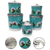 Jogo Porta Mantimento Latas De Alumínio 5 Peças Azul Tiffany - Alumínio extra forte