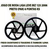 Jogo Roda Liga Leve Biz 125 Alumínio Preto 6 Pontas - Scud