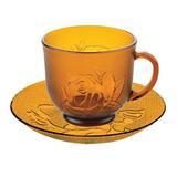 Jogo Xícaras de Chá Café 200 Ml Vidro Rosas Amber 12 Peças - 123 útil