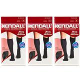 Kendall 1812 Meia 3/4 Média Compressão Masculina Preta M (Kit C/03)