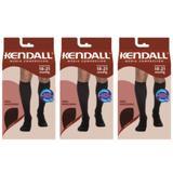Kendall 1813 Meia 3/4 Média Compressão Masculina Preta G (Kit C/03)
