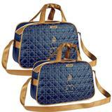 Kit 02 Bolsas de Maternidade Majestade Azul Marinho com Dourado - Talismã
