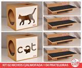 Kit 02 Nichos Gatos Almofada + 04 Prat Arranh - Fte Branca - Cat + Walk Cat - Nekocat