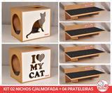Kit 02 Nichos Gatos Almofada + 04 Prat Arranh - Fte Branca - I Love My Cat +  Sit Cat - Nekocat