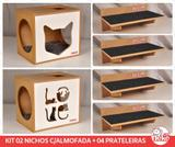Kit 02 Nichos Gatos Almofada + 04 Prat Arranh - Fte Branca - Love + Face Cat - Nekocat