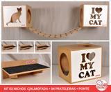Kit 02 Nichos Gatos Almofada + 04 Prat + Ponte - Fte Branca - I Love My Cat + Sit Cat - Nekocat