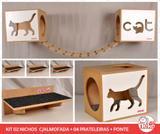 Kit 02 Nichos Gatos Almofada + Ponte + 04 Prat- Fte Branca - Cat + Walk Cat - Nekocat