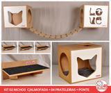 Kit 02 Nichos Gatos Almofada + Ponte + 04 Prat- Fte Branca -  Love + Face Cat - Nekocat