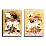 Kit 02 Quadros Cozinha Vintage Garçom Canvas 40x30cm-COZ19 - Lubrano decor