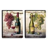 Kit 02 Quadros Cozinha Vintage Vinho Uva Canvas 40x30cm-COZ30 - Lubrano decor